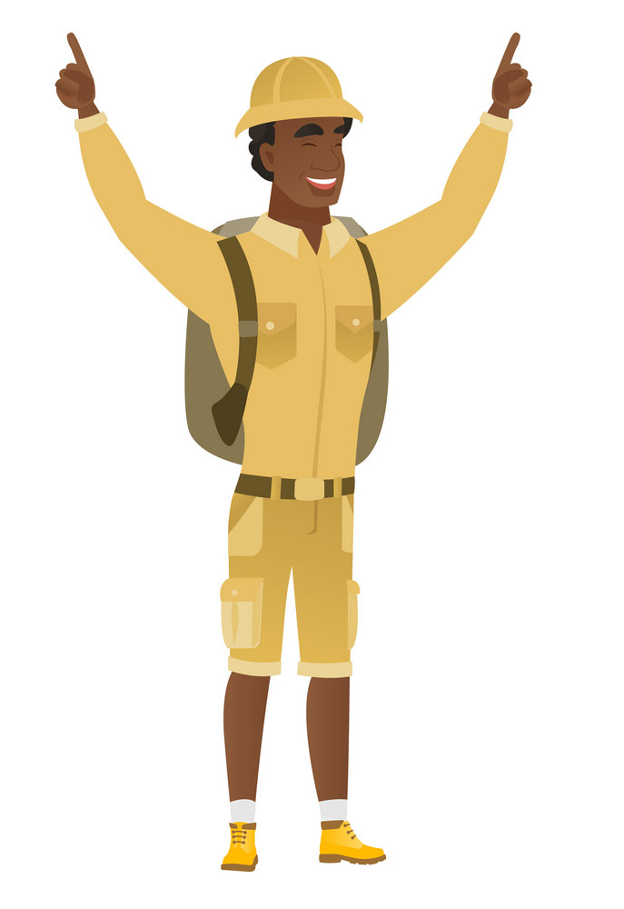 Successful african-american traveler standing with raised arms up. Full length of young happy traveler celebrating with raised arms up. Vector flat design illustration isolated on white background.