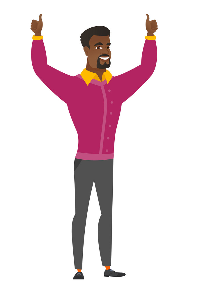 Successful african businessman standing with raised arms up. Happy businessman celebrating business success. Business success concept. Vector flat design illustration isolated on white background.