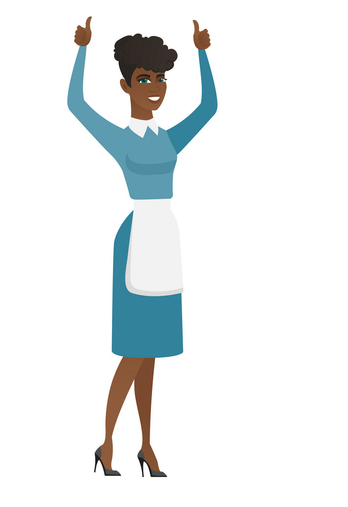 Successful african cleaner standing with raised arms up. Successful cleaner giving thumbs up. Young female cleaner celebrating success. Vector flat design illustration isolated on white background.