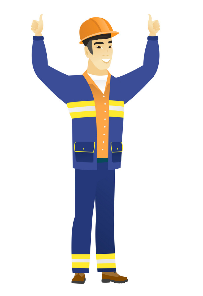 Successful asian builder in hard hat and workwear standing with raised arms up. Happy builder celebrating success and giving thumbs up. Vector flat design illustration isolated on white background.
