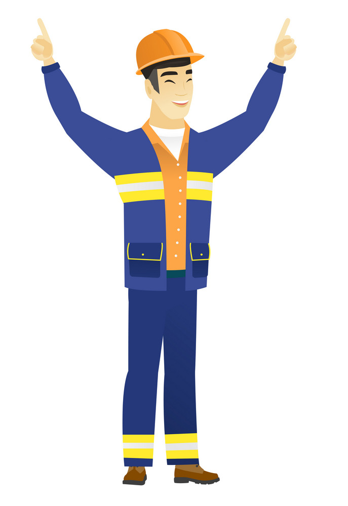 Successful asian builder standing with raised arms up. Full length of young happy builder celebrating with raised arms up. Vector flat design illustration isolated on white background.