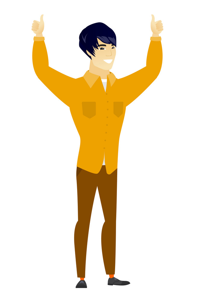 Successful asian business man standing with raised arms up. Happy business man celebrating business success. Vector flat design illustration isolated on white background.