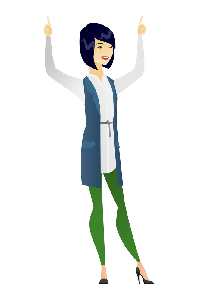 Successful asian business woman standing with raised arms up. Full length of young business woman celebrating with raised arms up. Vector flat design illustration isolated on white background.