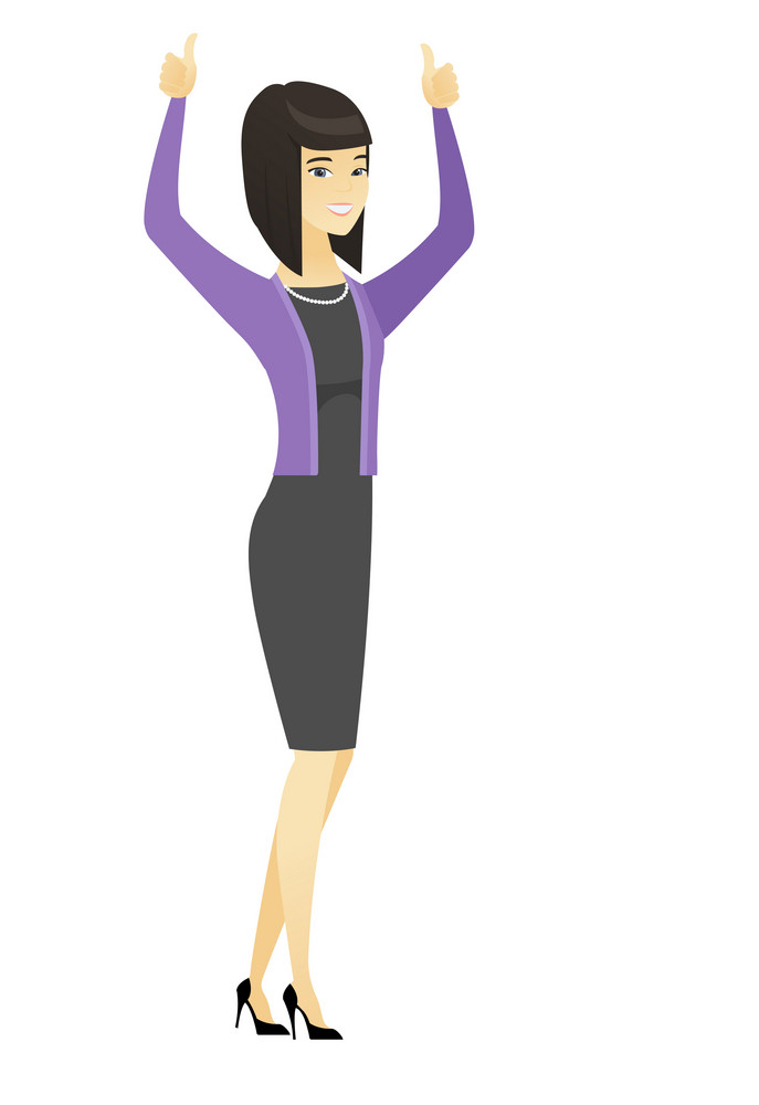 Successful asian business woman standing with raised arms up. Young business woman celebrating business success. Business success concept. Vector flat design illustration isolated on white background.