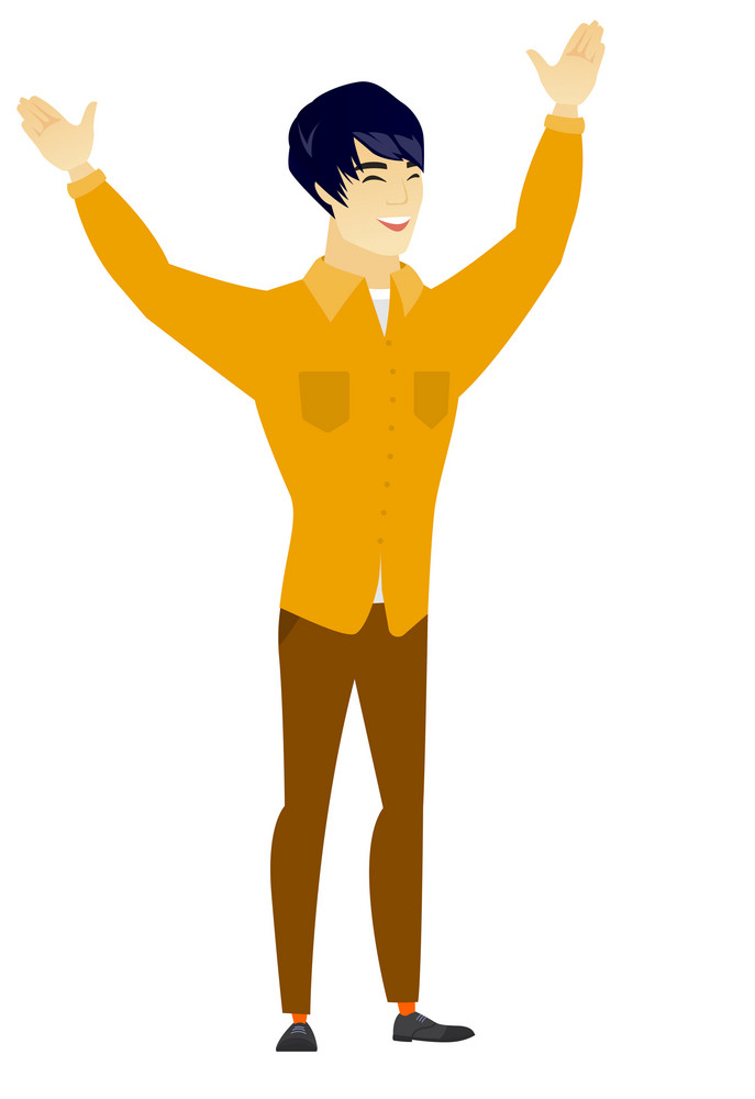 Successful asian  businessman jumping with raised arms up. Full length of happy businessman jumping in the air and celebrating success. Vector flat design illustration isolated on white background.