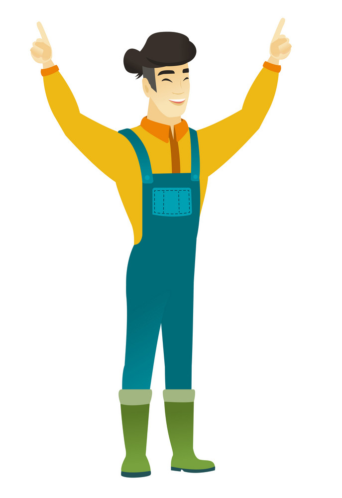 Successful asian farmer standing with raised arms up. Full length of young happy farmer in coveralls celebrating with raised arms up. Vector flat design illustration isolated on white background.