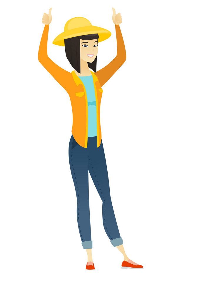 Successful asian farmer standing with raised arms up. Successful happy farmer giving thumbs up. Young smiling farmer celebrating success. Vector flat design illustration isolated on white background.