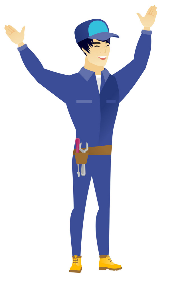Successful asian locksmith standing with raised arms up. Full length of young happy locksmith celebrating with raised arms up. Vector flat design illustration isolated on white background.