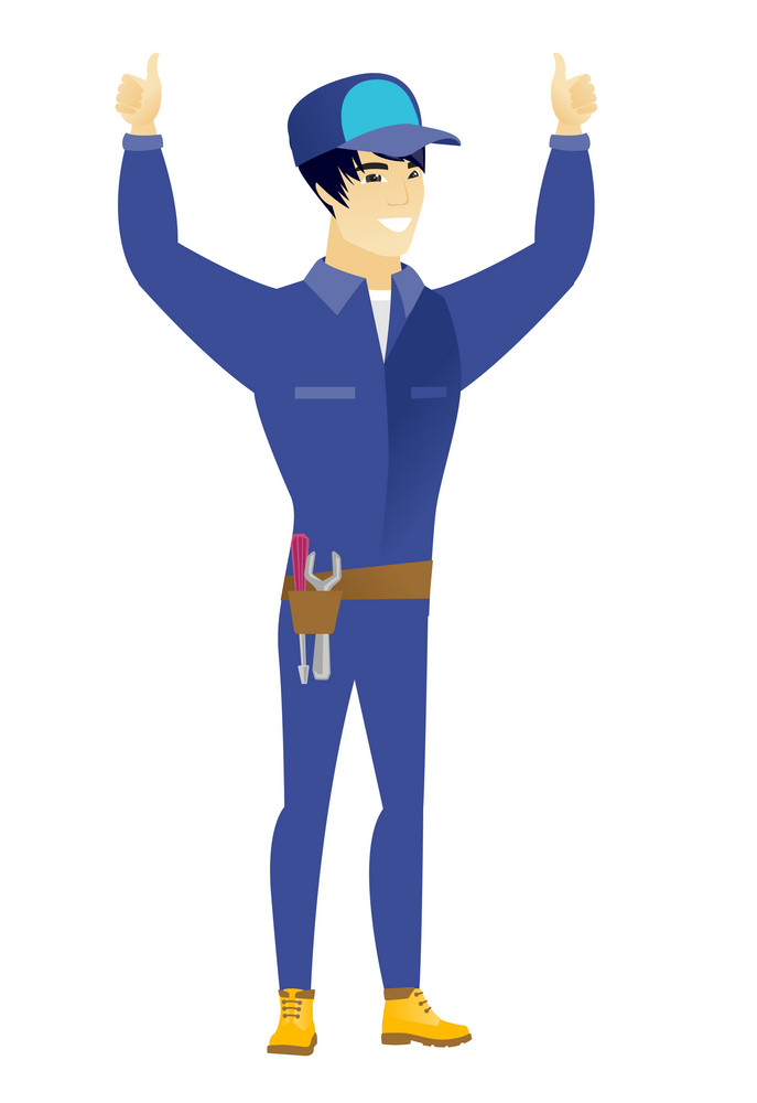 Successful asian mechanic standing with raised arms up. Young happy mechanic celebrating success and giving thumbs up. Vector flat design illustration isolated on white background.