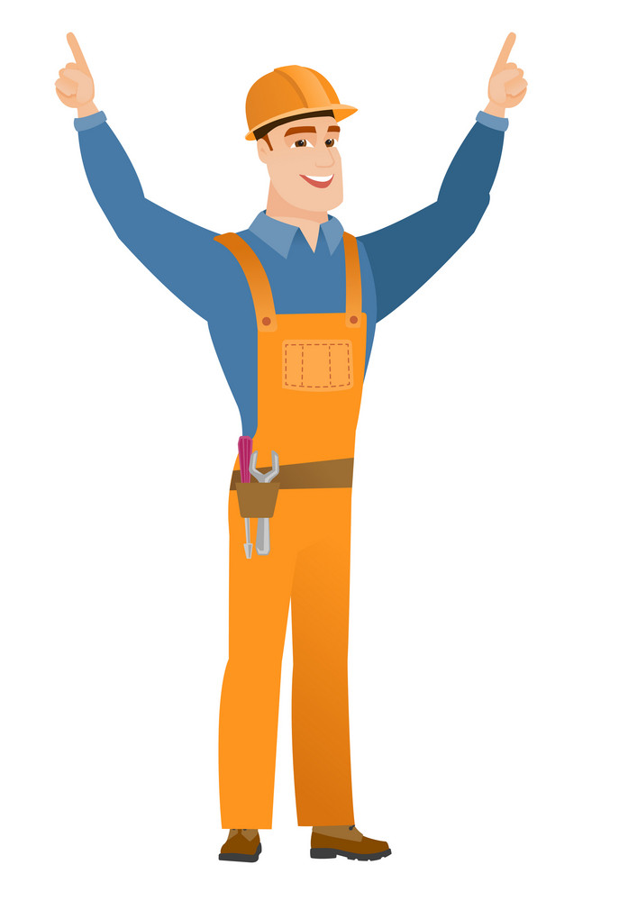 Successful caucasian builder standing with raised arms up. Full length of young happy builder celebrating with raised arms up. Vector flat design illustration isolated on white background.