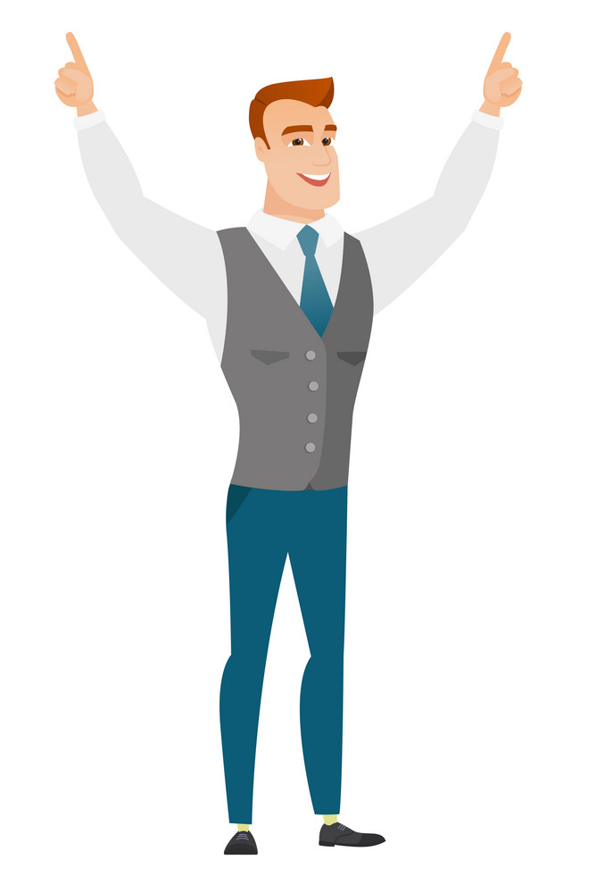 Successful caucasian businessman standing with raised arms up. Full length of young happy businessman celebrating with raised arms up. Vector flat design illustration isolated on white background.