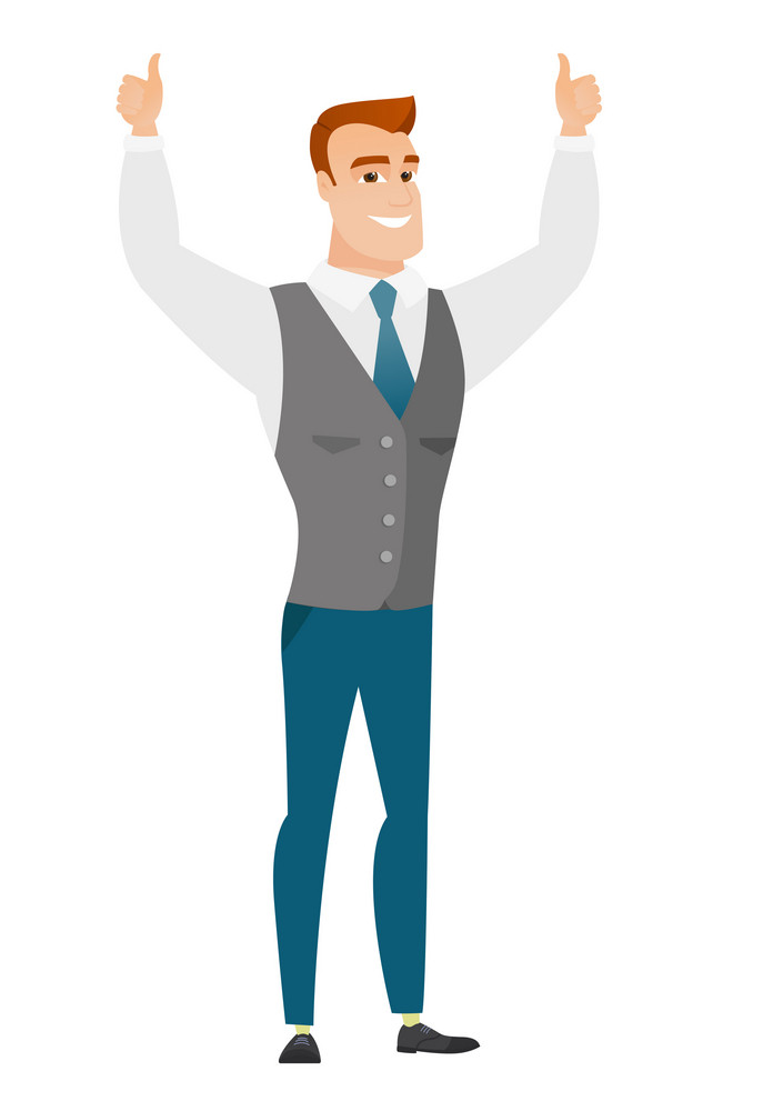 Successful caucasian businessman standing with raised arms up. Happy businessman celebrating business success. Business success concept. Vector flat design illustration isolated on white background.