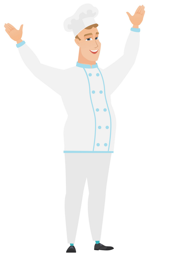 Successful caucasian chef cook jumping with raised arms up. Full length of happy chef cook jumping in the air and celebrating success. Vector flat design illustration isolated on white background.