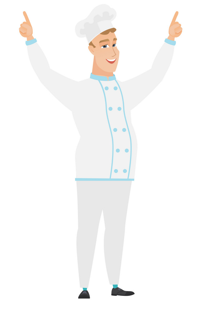 Successful caucasian chef cook standing with raised arms up. Full length of happy chef cook in uniform celebrating with raised arms up. Vector flat design illustration isolated on white background.