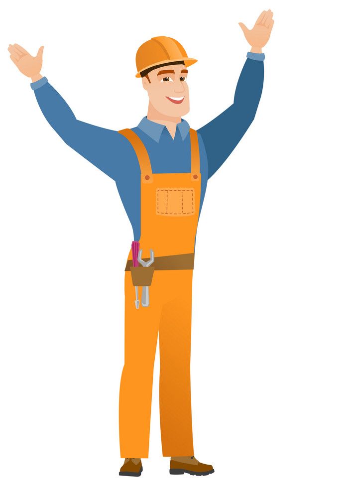 Successful caucasian constructor standing with raised arms up. Full length of young happy constructor celebrating with raised arms up. Vector flat design illustration isolated on white background.