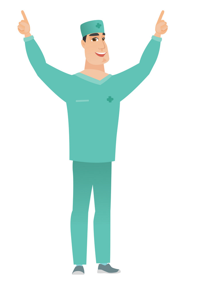 Successful caucasian doctor standing with raised arms up. Full length of young happy doctor in uniform celebrating with raised arms up. Vector flat design illustration isolated on white background.