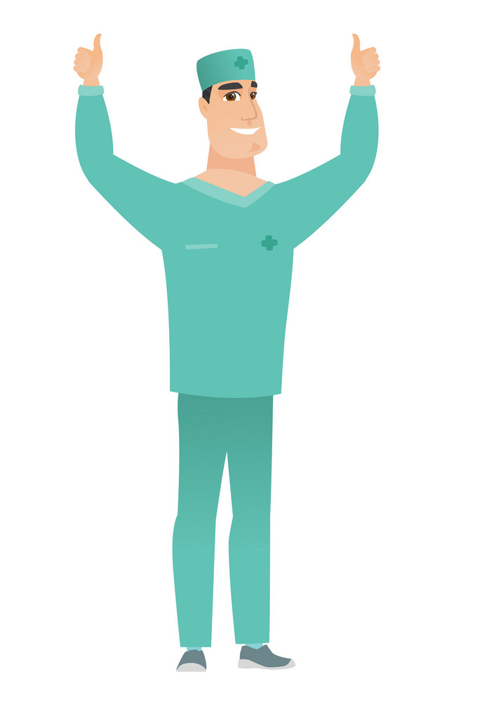 Successful caucasian doctor standing with raised arms up. Successful doctor giving thumbs up. Young smiling doctor celebrating success. Vector flat design illustration isolated on white background.