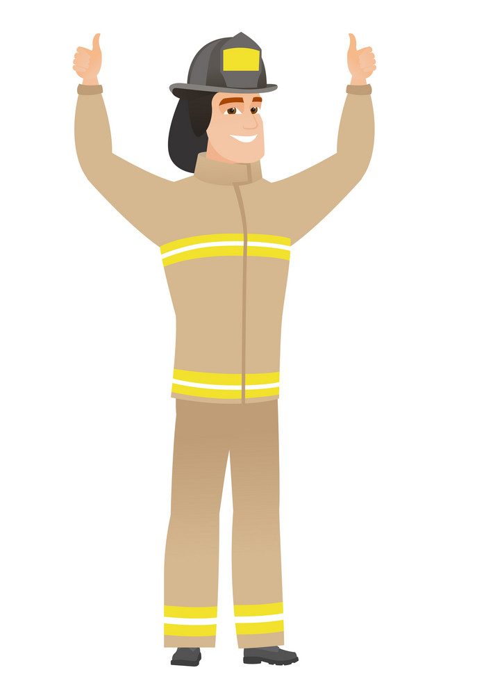 Successful caucasian firefighter standing with raised arms up. Successful firefighter giving thumbs up. Firefighter celebrating success. Vector flat design illustration isolated on white background.
