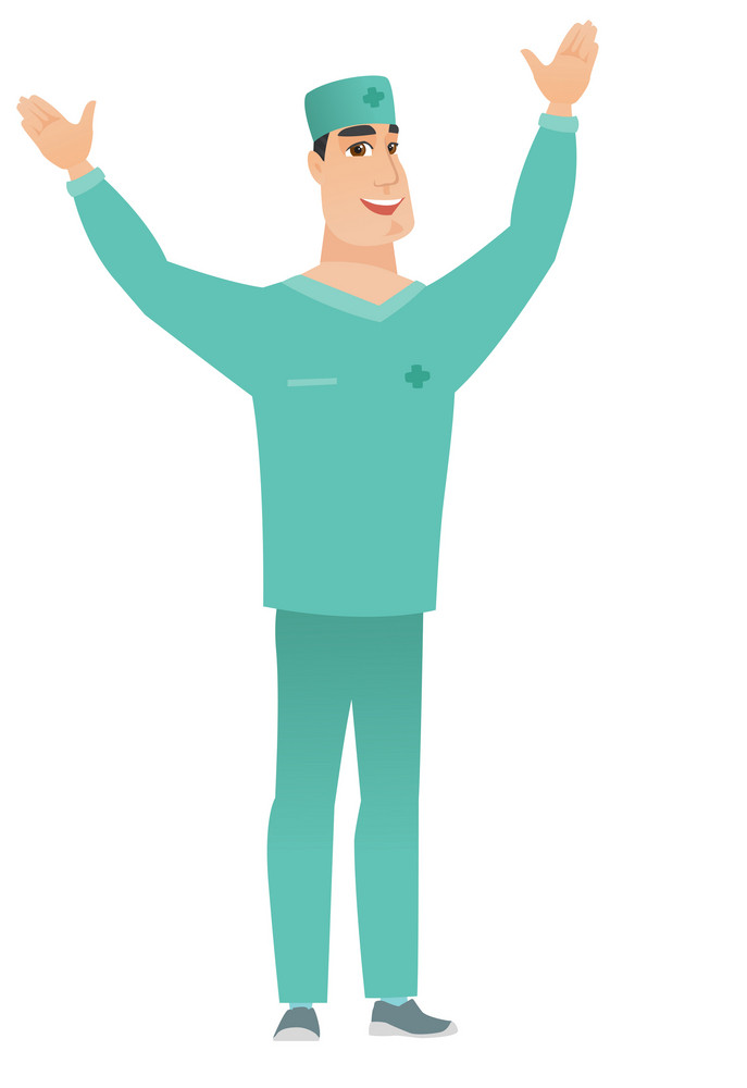 Successful caucasian surgeon standing with raised arms up. Full length of young happy surgeon in uniform celebrating with raised arms up. Vector flat design illustration isolated on white background.