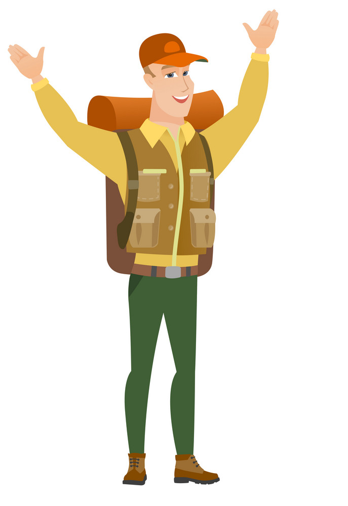 Successful caucasian tourist standing with raised arms up. Full length of young happy tourist celebrating with raised arms up. Vector flat design illustration isolated on white background.