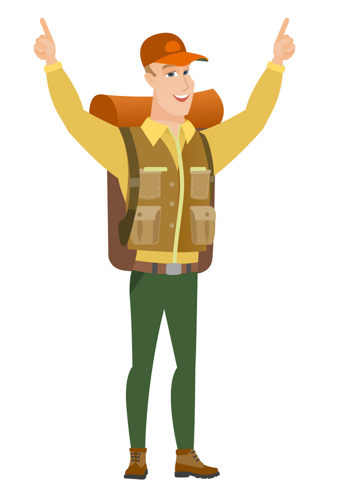 Successful caucasian traveler standing with raised arms up. Full length of young happy traveler celebrating with raised arms up. Vector flat design illustration isolated on white background.