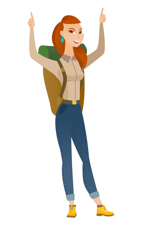 Successful caucasian traveler woman standing with raised arms up. Full length of young happy traveler celebrating with raised arms up. Vector flat design illustration isolated on white background.