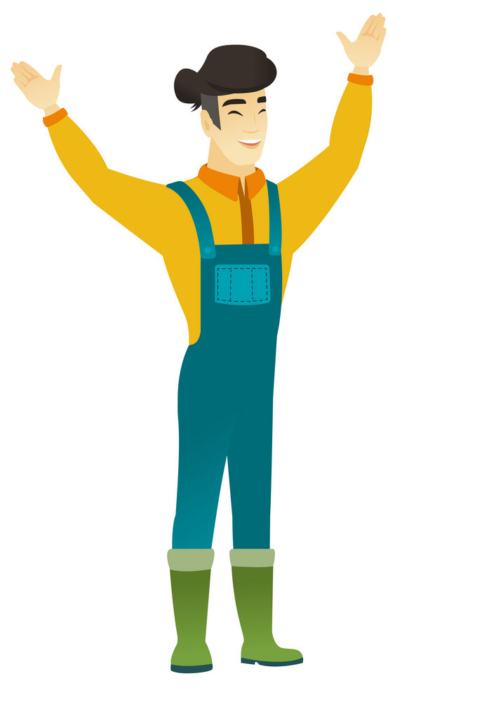 Successful young asian farmer jumping with raised arms up. Full length of happy farmer jumping in the air and celebrating success. Vector flat design illustration isolated on white background.