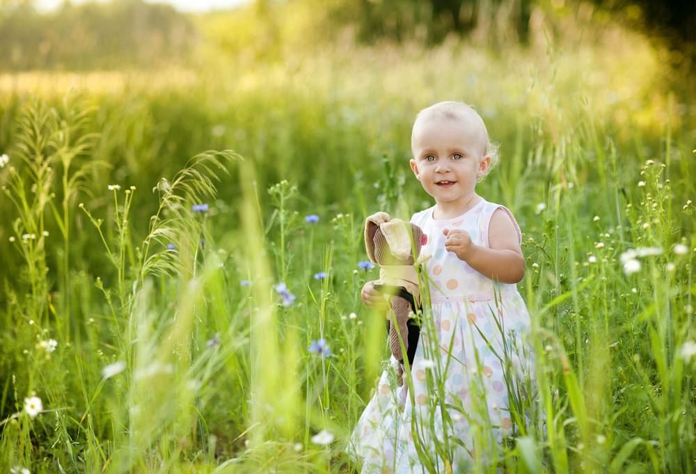Summer outdoor portrait of cute little girl on sunny meadow