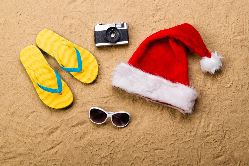 8f7eb6f4508 Summer vacation composition with a pair of yellow flip flop sandals ...