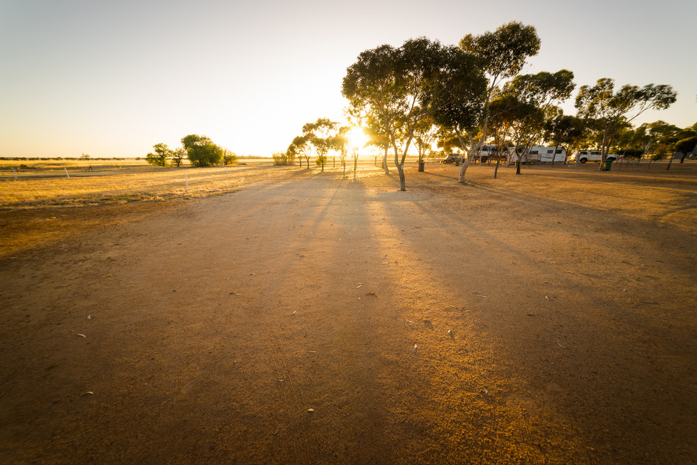 Sunrise in the morning at the Hyden farm ,Western Australia.