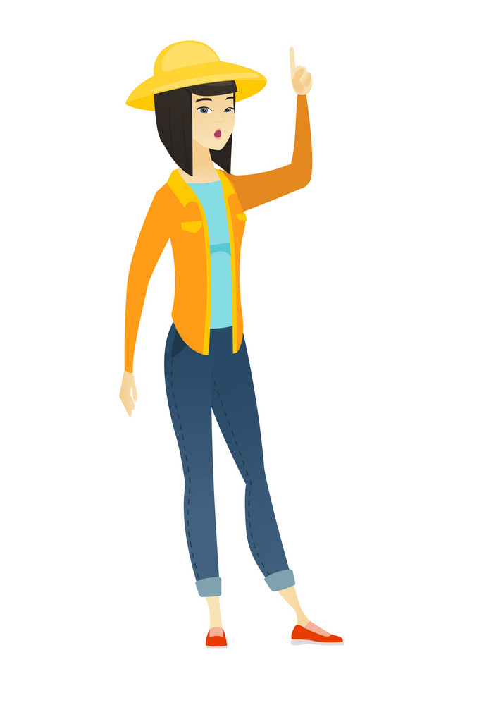 Surprised asian female farmer with open mouth pointing finger up. Full length of young farmer with open mouth came up with creative idea. Vector flat design illustration isolated on white background.
