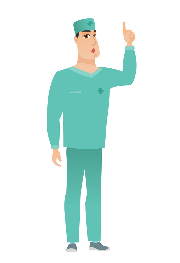 Surprised caucasian doctor in uniform with open mouth pointing finger up. Full length of young doctor with open mouth came up with idea. Vector flat design illustration isolated on white background.