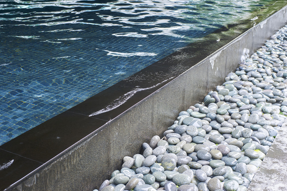 swimming pool with decorative stones