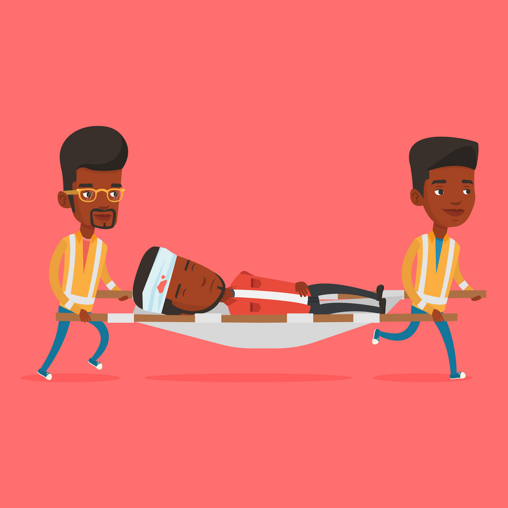 Team of emergency doctors carrying injured man on emergency medical stretcher. African paramedics transporting victim after accident on the stretcher. Vector flat design illustration. Square layout.
