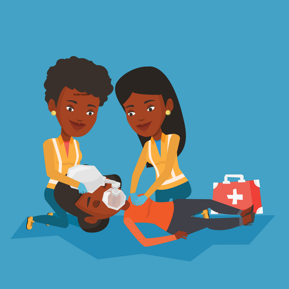 Team of young emergency doctors during process of resuscitation of an injured man. African-american paramedics doing cardiopulmonary resuscitation. Vector flat design illustration. Square layout.