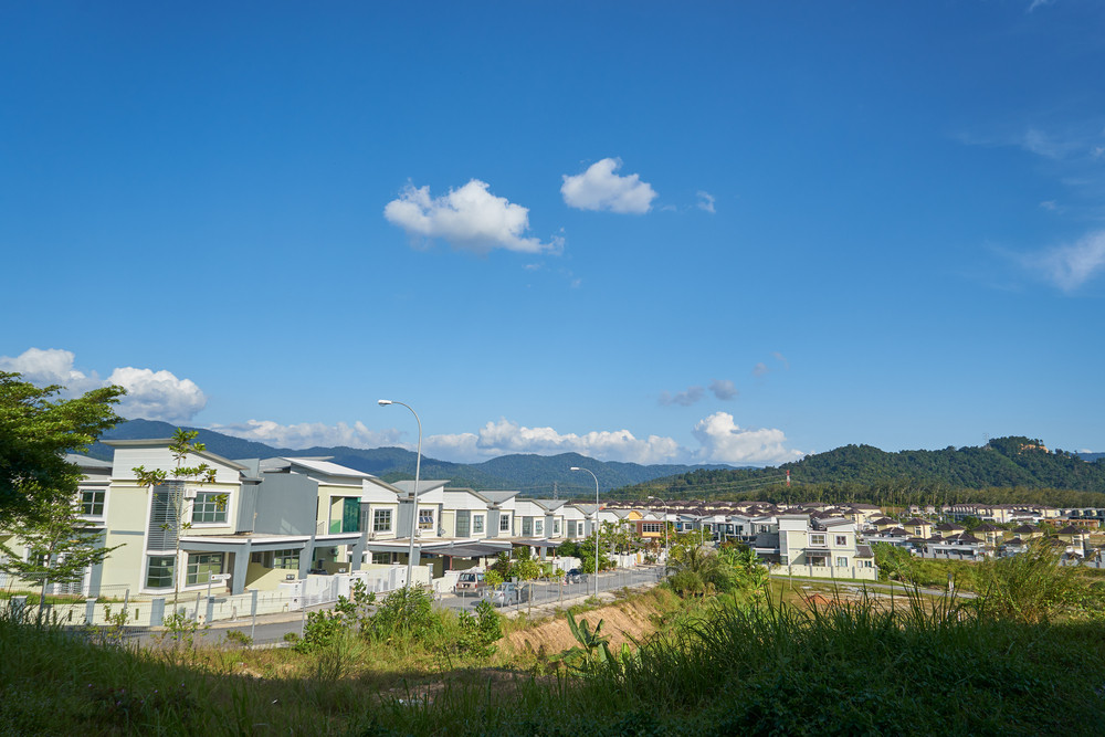 terrace house under the blue skies