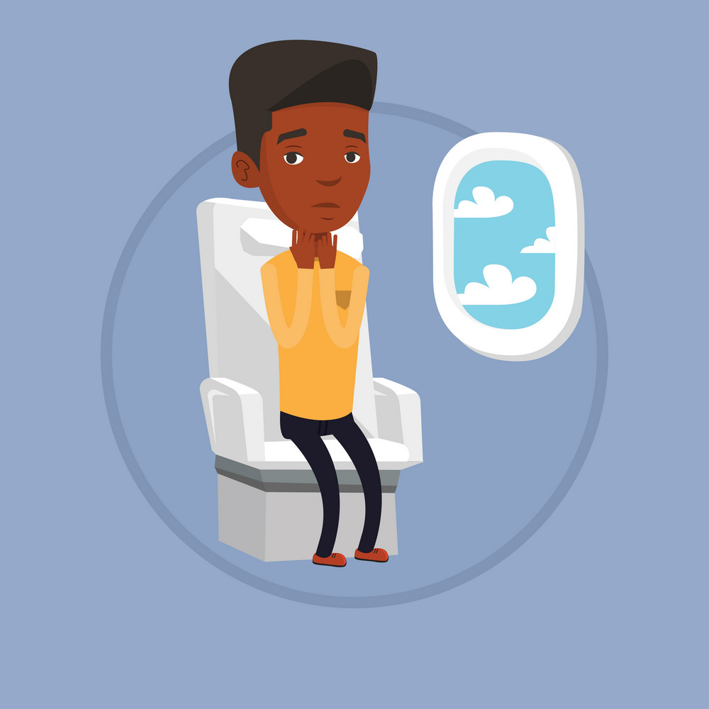 Terrified african-american airplane passenger shocked by plane flight in a turbulent area. Airplane passenger frightened by flight. Vector flat design illustration in the circle isolated on background