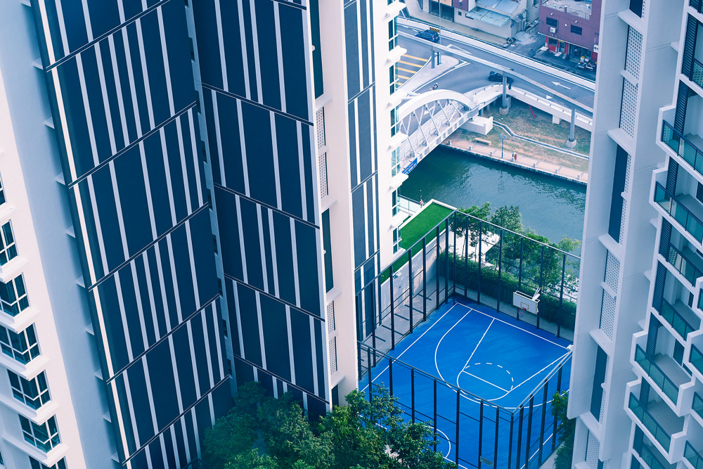 The Top view on building and a basketball court