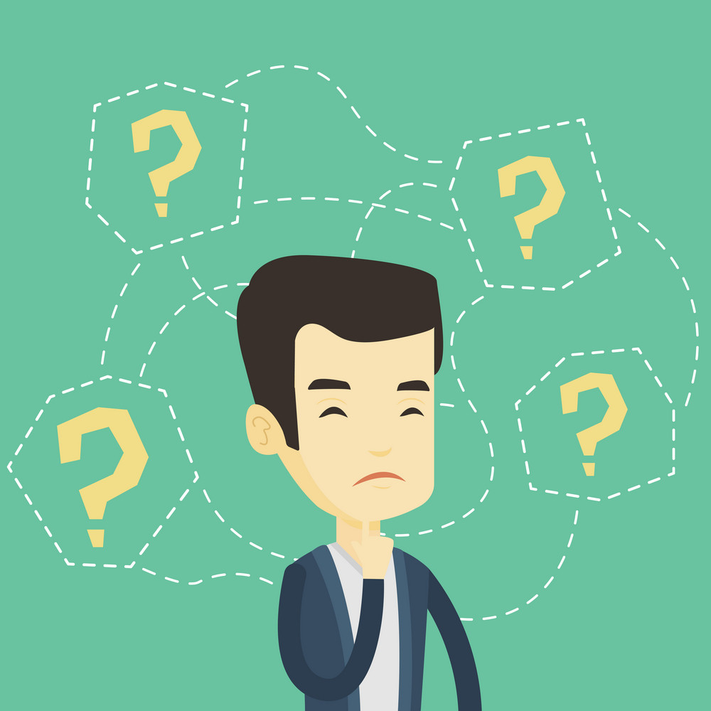 Thinking business man standing under question marks. Young asian business man thinking. Thinking business man surrounded by question marks. Vector flat design illustration. Square layout.