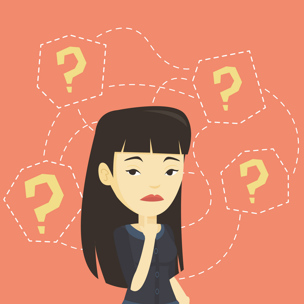 Thinking business woman standing under question marks. Young asian business woman thinking. Thinking business woman surrounded by question marks. Vector flat design illustration. Square layout.