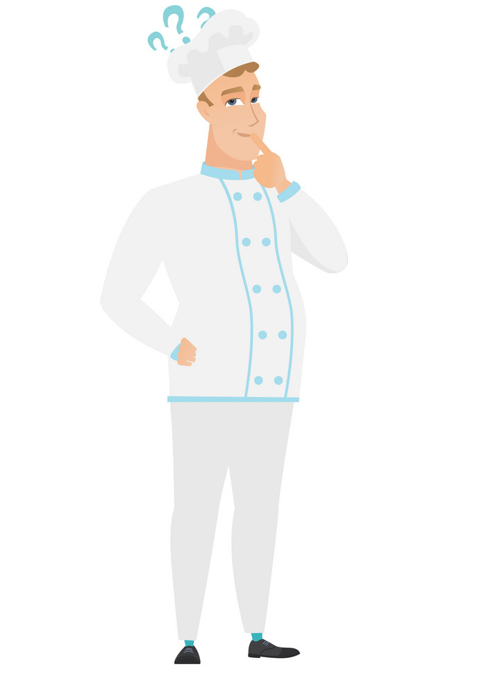 Thinking chef cook with question marks. Thoughtful chef cook with question marks. Chef cook looking at question marks above his head. Vector flat design illustration isolated on white background.