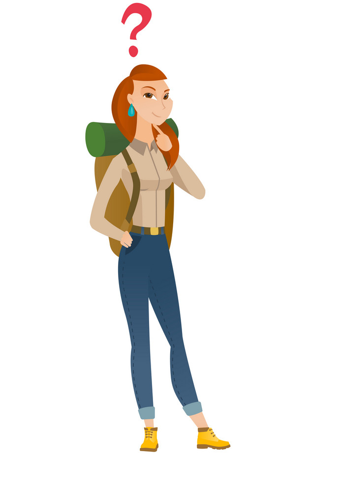 Thinking traveler with question mark. Thoughtful traveler with question mark. Young traveler looking at question mark above her head. Vector flat design illustration isolated on white background.