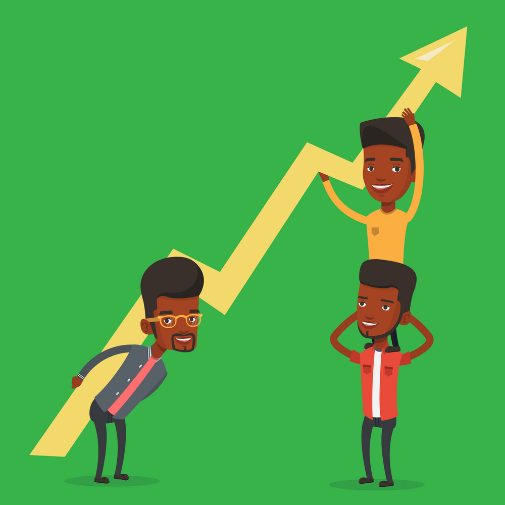 Three african-american businessmen holding growth graph. Cheerful business team with growth graph. Concept of business growth and teamwork. Vector flat design illustration. Square layout.