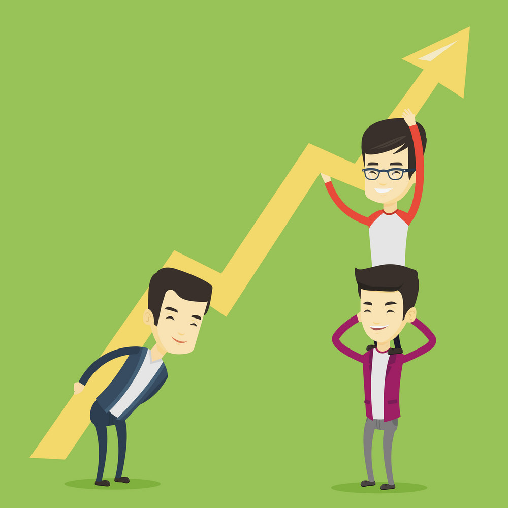 Three asian business men holding growth graph. Cheerful business team with growth graph. Concept of business growth, teamwork and partnership. Vector flat design illustration. Square layout.