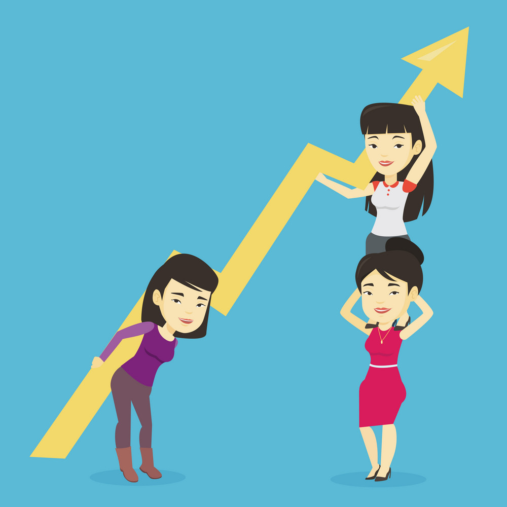 Three asian business women holding growth graph. Cheerful business women with growth graph. Concept of business growth, teamwork and partnership. Vector flat design illustration. Square layout.