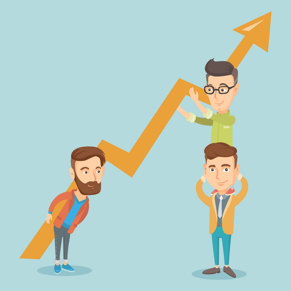 Three caucasain business men holding growth graph. Cheerful business team with growth graph. Concept of business growth, teamwork and partnership. Vector flat design illustration. Square layout.