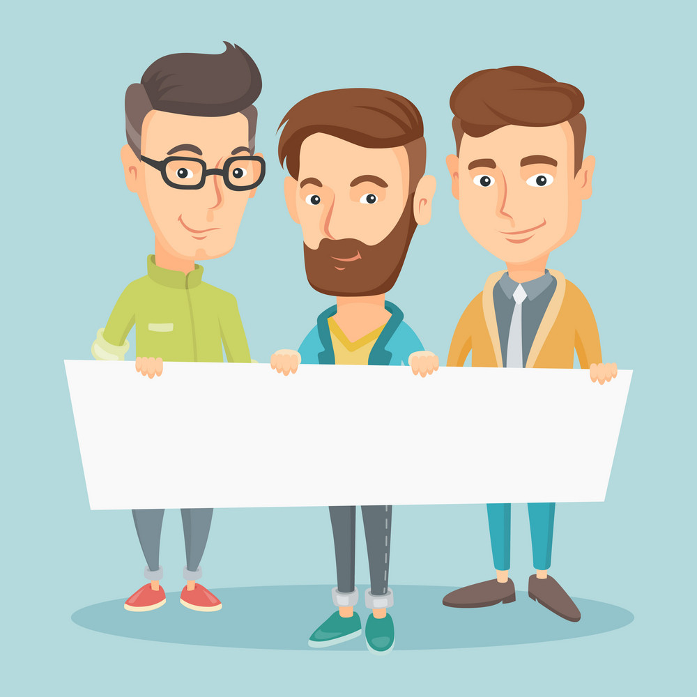 Three young caucasian friends holding white blank board. Group of young students holding an empty board. Group of smiling friends showing white board. Vector flat design illustration. Square layout.