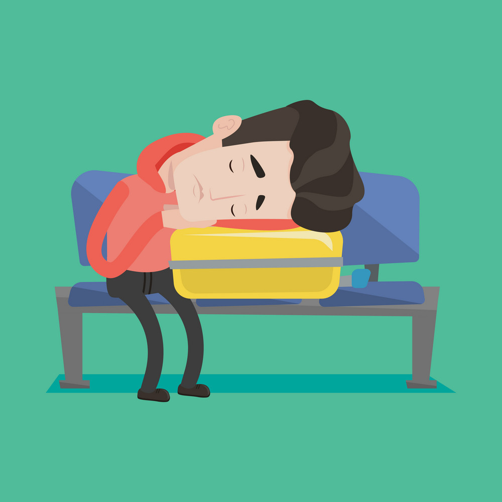 Tired caucasian passenger sleeping on luggage in airport. Exhausted man sleeping on suitcase at airport. Man waiting for flight and sleeping on suitcase. Vector flat design illustration. Square layout