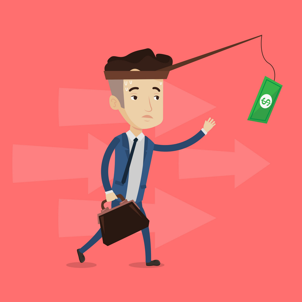 Tired sweaty businessman trying to catch money on fishing rod. Businessman running for money hanging on fishing rod. Concept of financial motivation. Vector flat design illustration. Square layout.