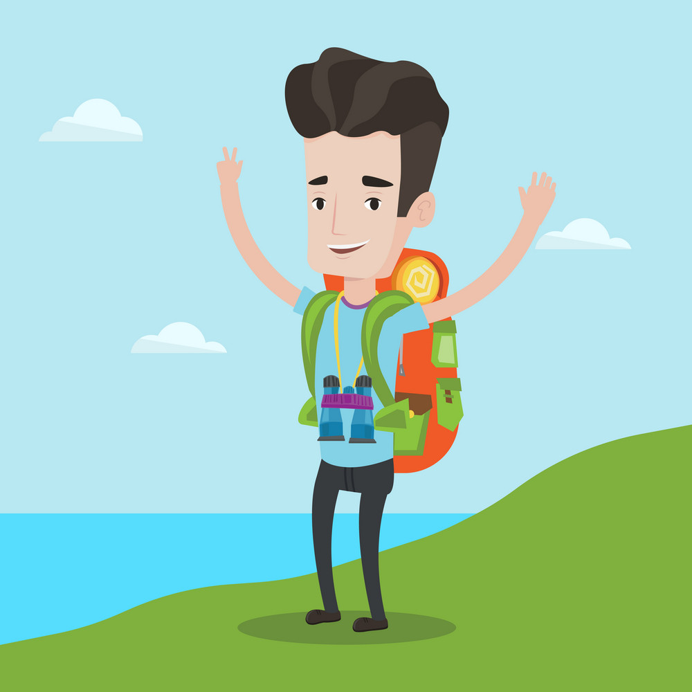 Tourist with backpack standing on the cliff and celebrating success. Happy backpacker with raised hands enjoying the scenery. Man hiking in mountains. Vector flat design illustration. Square layout.